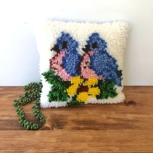 Small Square Latch Hook Accent Pillow Blue Birds
